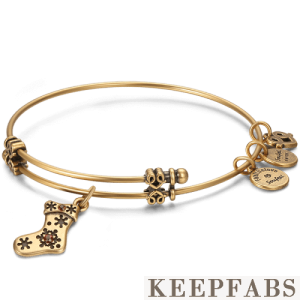 Christmas Stocking Charm Bangle Gold Plated