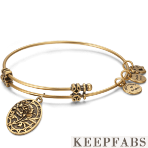 Carnation for Mom Charm Bangle Gold Plated