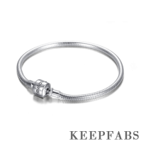 Classic Keepfab Engrave Snake Chain Bracelet Silver