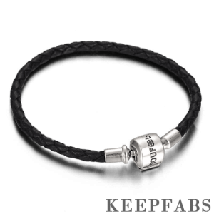 Black Woven Cow Leather Bracelet with Silver Clasp