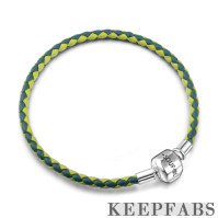 Green Duotone Woven Cow Leather Bracelet with Silver Clasp