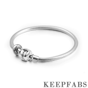 Keepfab Engrave Snake Chain Bracelet with Stopper Silver