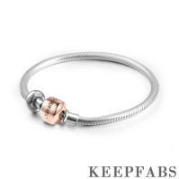 Keepfab Engrave Snake Chain Bracelet with Stopper Rose Gold Plated Silver