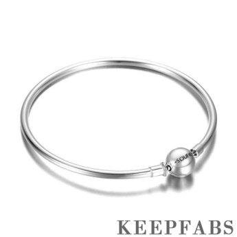 Classic Keepfab Engrave Charm Bangle Silver