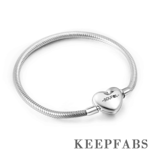 Heart Clasp Engraved Bracelet Silver
