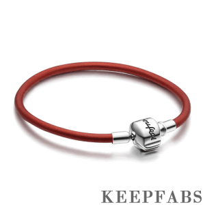 Red Cow Leather Bracelet with Silver Clasp