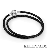 Double Woven Black Cow Leather Bracelet with Silver Clasp