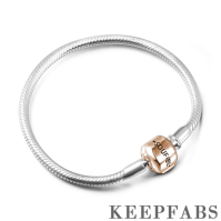 Snake Chain Bracelet with Clasp Rose Gold Plated Silver
