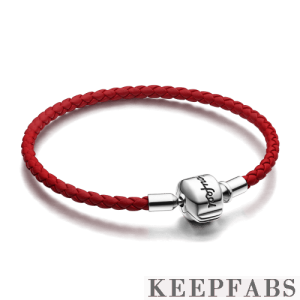 Red Woven Cow Leather Bracelet with Keepfab Silver Clasp