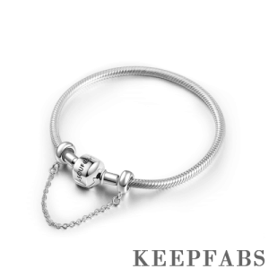 Keepfab Engrave Snake Chain Bracelet with Safety Chain Silver