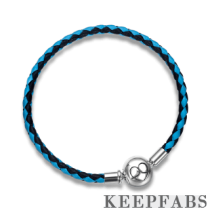 Blue Duotone Woven Cow Leather Bracelet with Silver Clasp