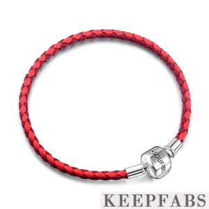Red Duotone Woven Cow Leather Bracelet with Silver Clasp