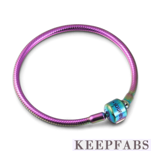 Rainbow Snake Chain Bracelet with Silver Clasp