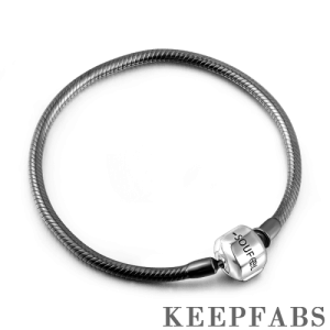 Black Snake Chain Bracelet with Clasp Silver
