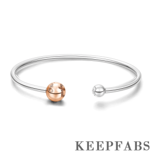 Feel the Love Open Cuff Bangle Rose Gold Plated Silver