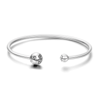 Feel the Love Open Cuff Bangle Silver