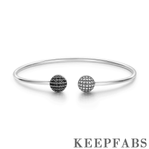 Pave Black CZ Ball Open Cuff Bangle Silver