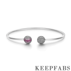 Pave Pink CZ Ball Open Cuff Bangle Silver