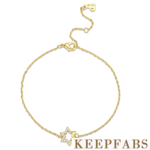 Hexagram Bracelet 14K Gold Plated - Length Adjustable