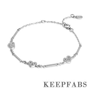 Love You Forever Silver Bracelet with CZ - Length Adjustable