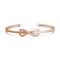 Infinity Love Open Cuff Bangle with Swarovski Pearl