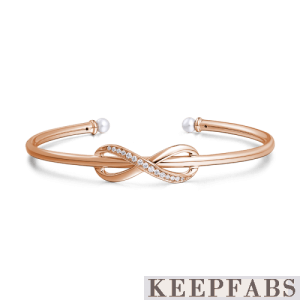 Infinity Love Open Cuff Bangle with Swarovski Pearl Rose Gold Plated Silver