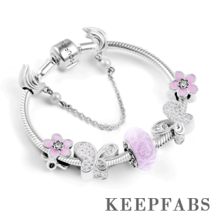 Butterflies and Flowers Complete Charm Bracelet Silver