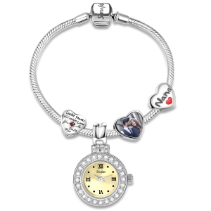 Timeless Love Bracelet with Engraved Photo Charm Silver