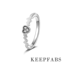 Keepfab Inseparable Heart Couples Ring Silver