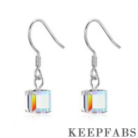 Austrian Square Crystal Drop Earrings Silver