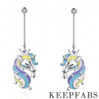 Fantasy Unicorn Drop Earrings Silver