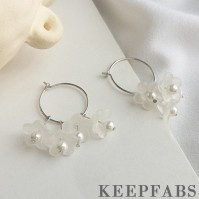 Platinum Plated in Sterling SilverSuper Fairy Pearl Flower Earrings