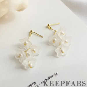 Gold Plated with Sterling Silver Lily of The Valley Flower Drop Earrings