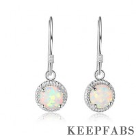 Woven Round White Opal Drop Earrings Silver