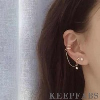 Three-piece of Ear Clip and Earrings Plated Gold