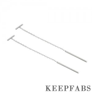 T-shaped Ear Lines Sterling Silver