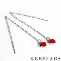 Red Heart Ear Lines Sterling Silver