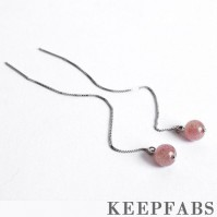 Strawberry Crystal Ear Lines Sterling Silver
