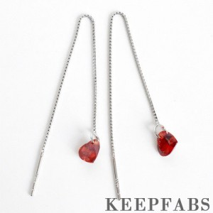 Red Heart Crystal Ear Lines Sterling Silver