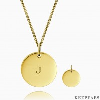 Initial Coin Necklace With Engraving 14k Gold Plated Z901554256384