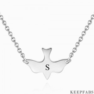 Initial Bird Engraved Necklace Z901554282179
