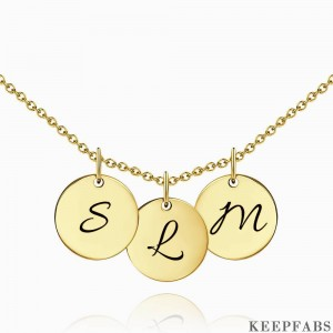 Initial Disc Engraved Necklace 14k Gold Plated Z901554282297