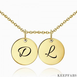 Initial Disc Engraved Necklace 14k Gold Plated Z901554282423