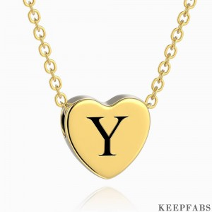 Engraved Heart Initial Necklace 14k Gold Plated Z901554282621