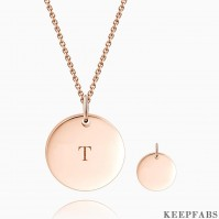 Initial Coin Necklace With Engraving Rose Gold Plated Z901554282987