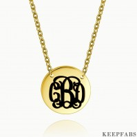 Engraved Monogram Necklace 14k Gold Plated Silver Z901554283065