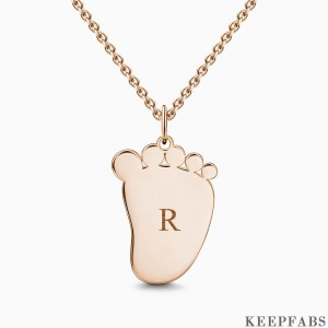 Baby Foot Initial Necklace With Engraving Rose Gold Plated Silver Z901554283925