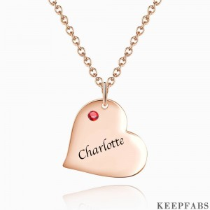 Heart Tag Personalized Birthstone Necklace With Engraving Rose Gold Plated Silver Z901554338547
