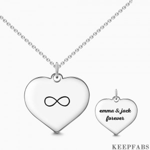 Engraved Infinity Love Necklace Silver