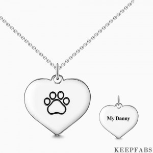 Engraved Paw Print Necklace Silver Z901554339319